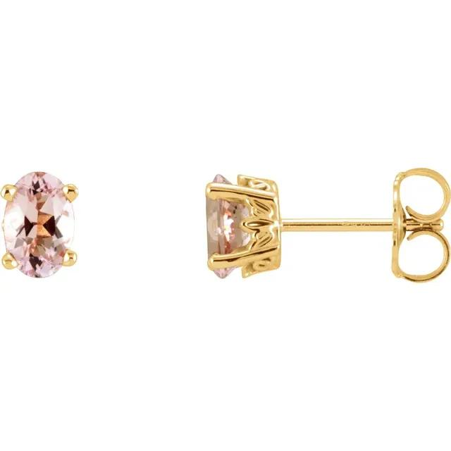 14k yellow gold oval pink morganite earrings