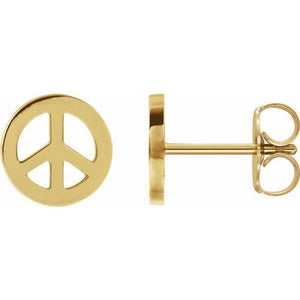 14k yellow gold peace sign earrings