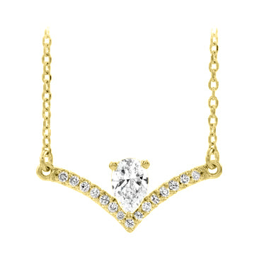 14k yellow gold pear diamond necklace