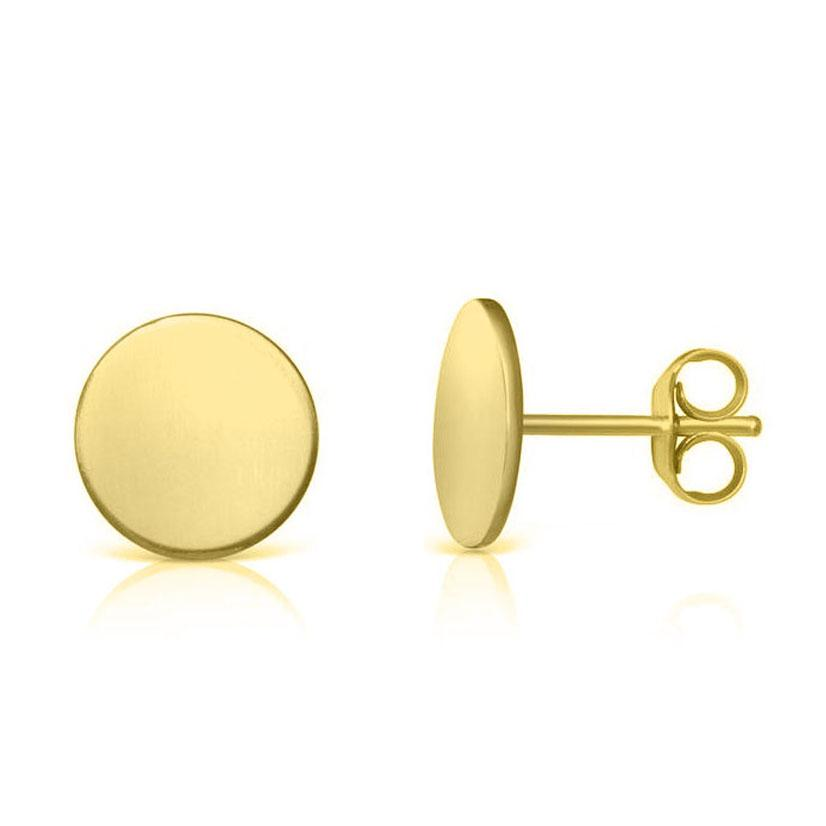 14k yellow round gold stud earrings