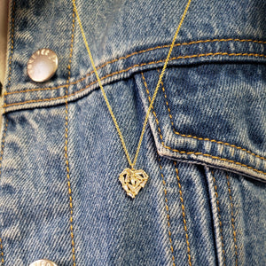 14k yellow gold shattered baguette diamond heart necklace