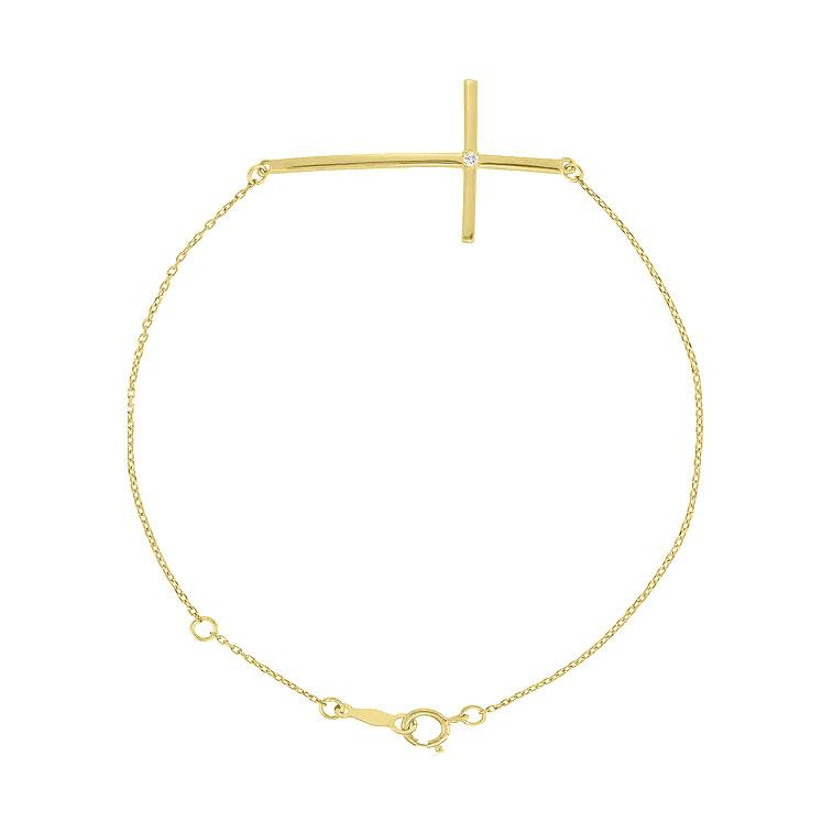 14K Yellow Gold Sideways Cross Diamond Bracelet