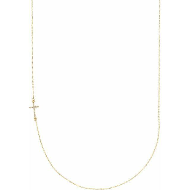 14k yellow gold sideways cross diamond necklace