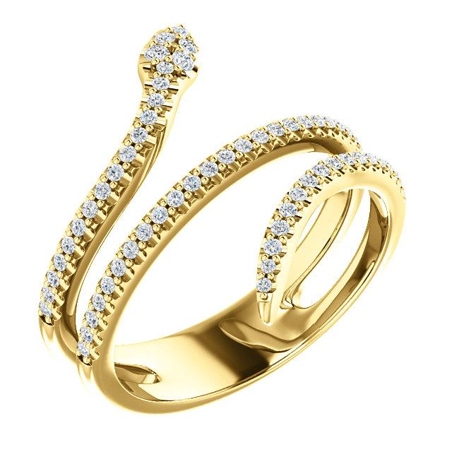 14k yellow gold snake diamond ring