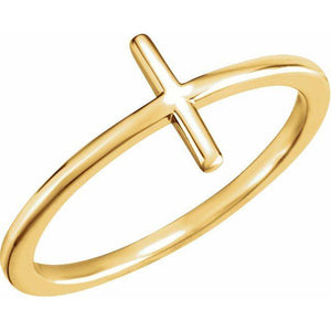 14k yellow gold sideways cross ring