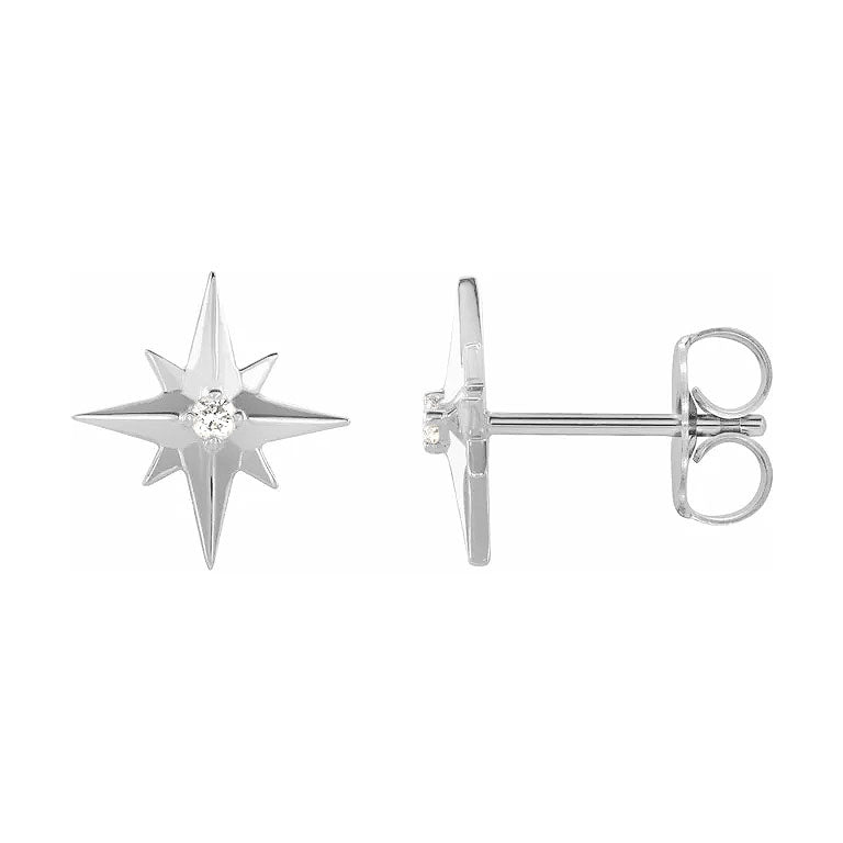 white gold star diamond earrings