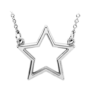 14k white gold star pendant necklace