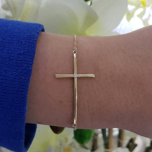 Sideways Cross Diamond Bracelet