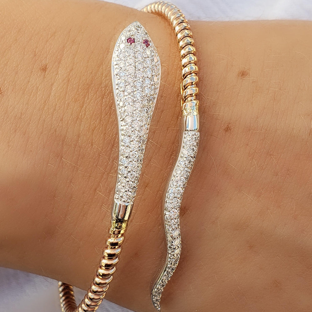 white gold snake diamond bangle