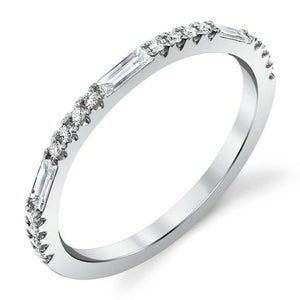 White Gold Round Baguette Diamond Ring