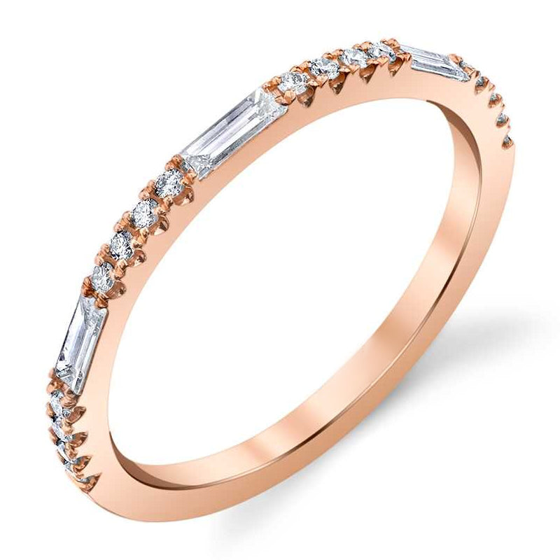 Rose Gold Round Diamond Baguette Ring