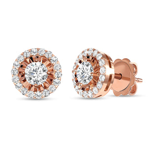Rose Gold Astro Halo Diamond Earrings