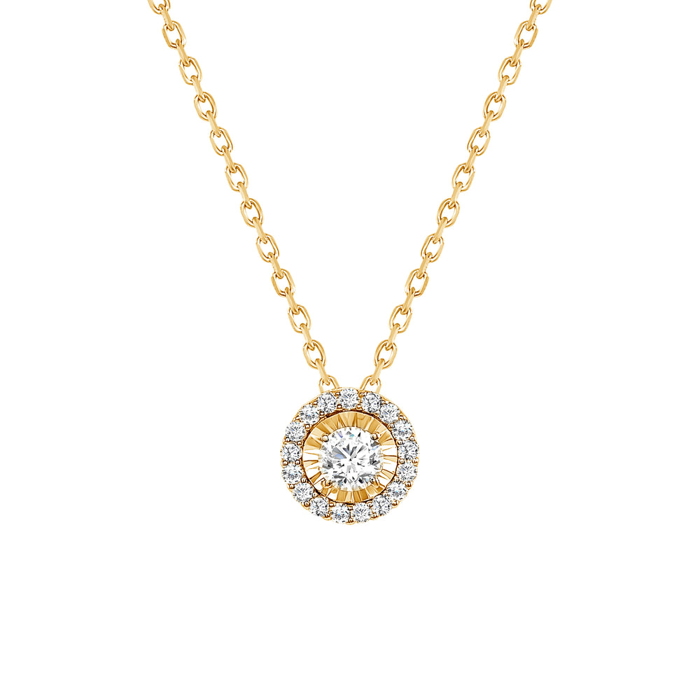 yellow gold round halo diamond necklace