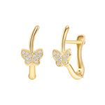 yellow gold butterfly earrings