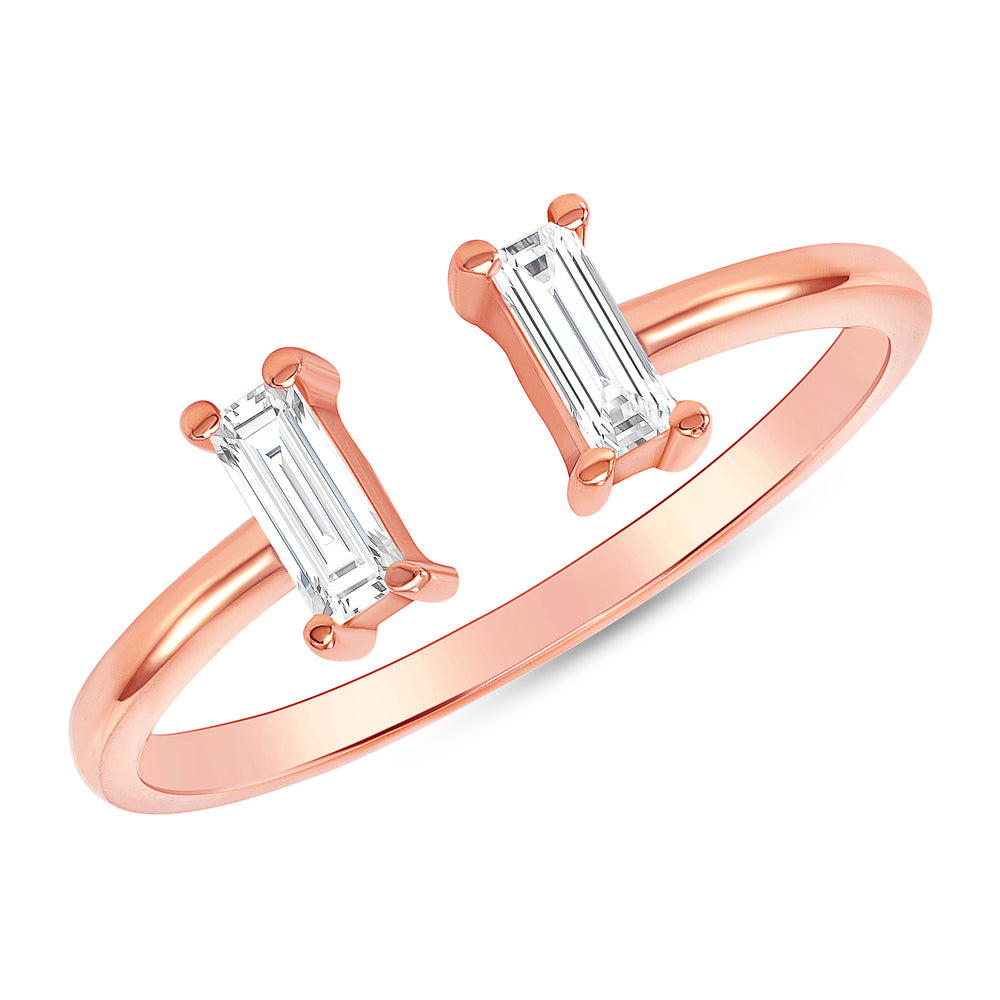 Rose Gold Baguette Diamond Cuff Ring