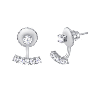 bar and ball white gold earrings