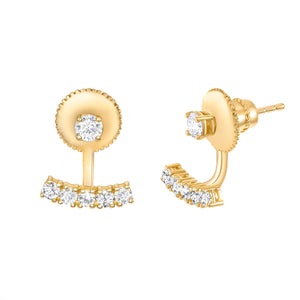 bar and ball yellow gold earrings