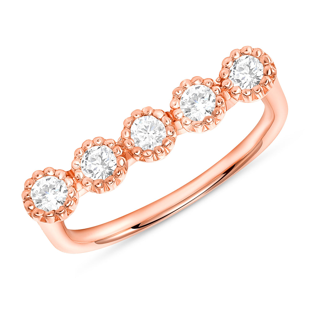 Rose Gold Bezel Champagne Diamond Bar Ring