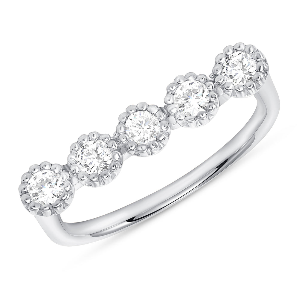 White Gold Bezel Champagne Diamond Bar Ring