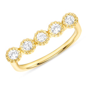 Yellow Gold Bezel Champagne Diamond Bar Ring
