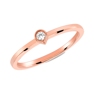 Bezel Diamond Tear Drop Ring (Stack-able)