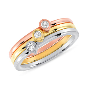 Set of three: Rose, Yellow and White Gold Bezel Diamond Tear Drop Ring