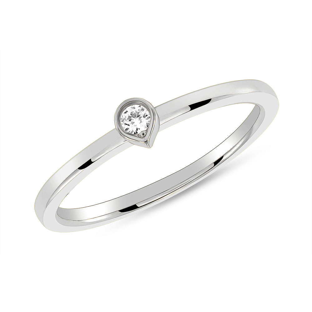 White Gold Bezel Diamond Tear Drop Ring
