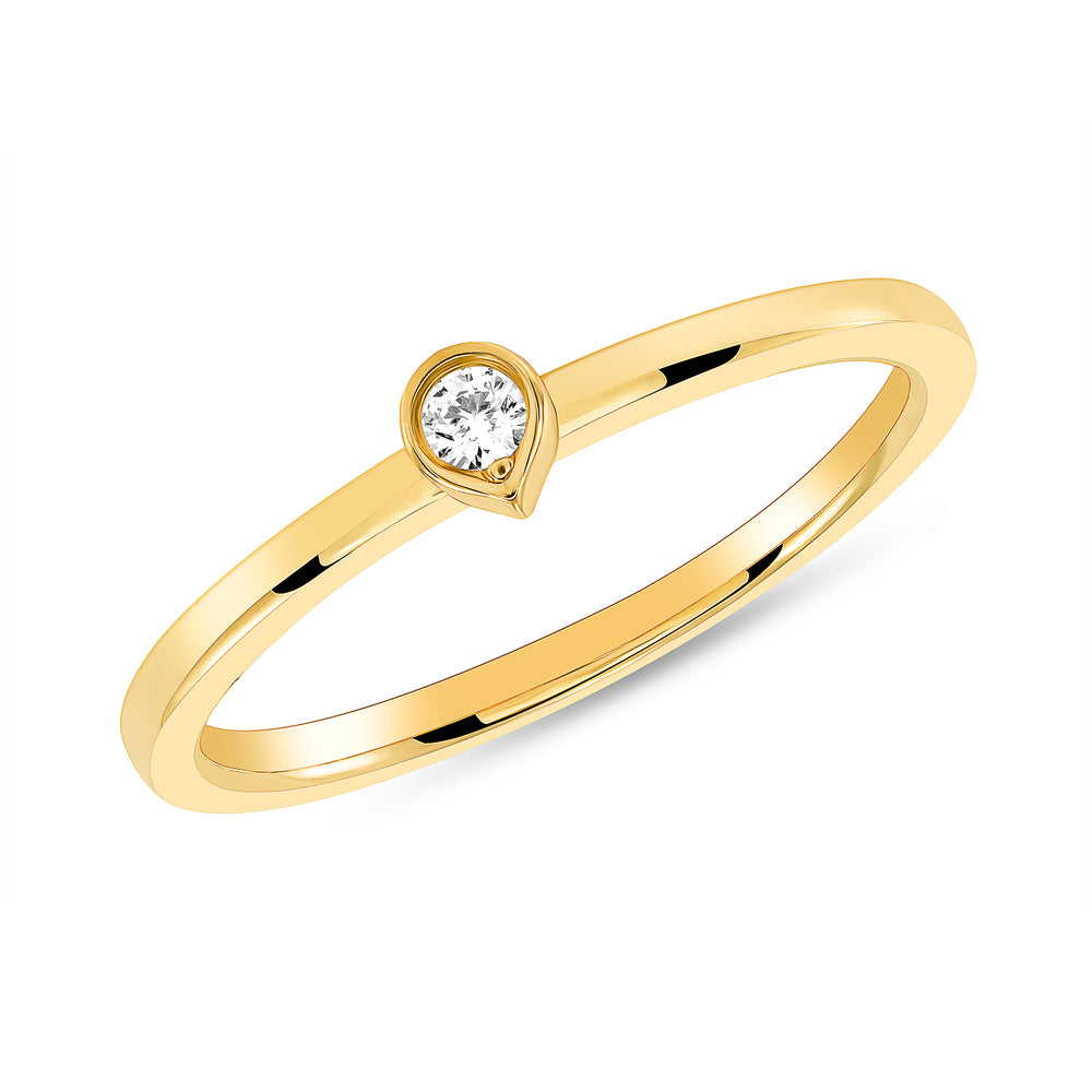 Yellow Gold Bezel Diamond Tear Drop Ring