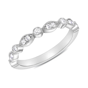 White Gold Stack-able Diamond Ring Band