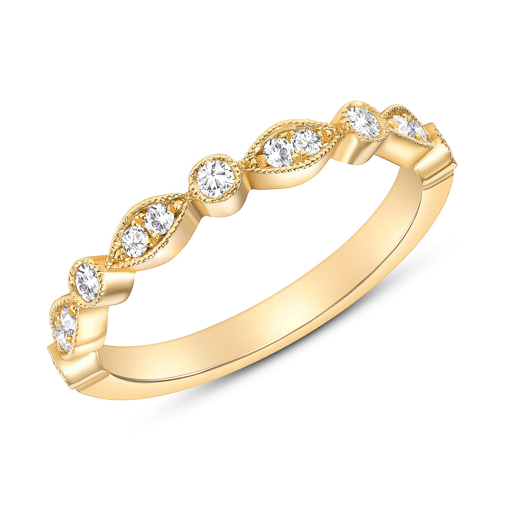 Yellow Gold Stack-able Diamond Ring Band