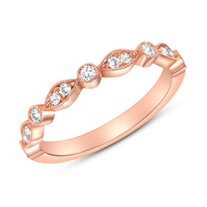 Rose Gold Stack-able Diamond Ring Band