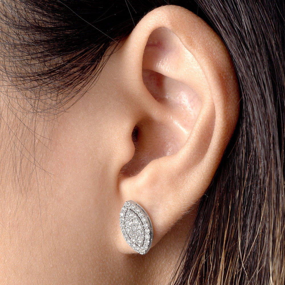 Diamond Cat Eye Earring in ear