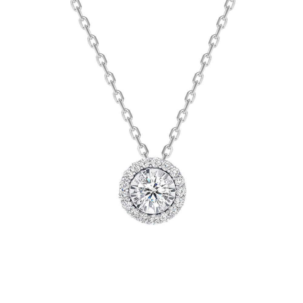 white gold round halo diamond necklace
