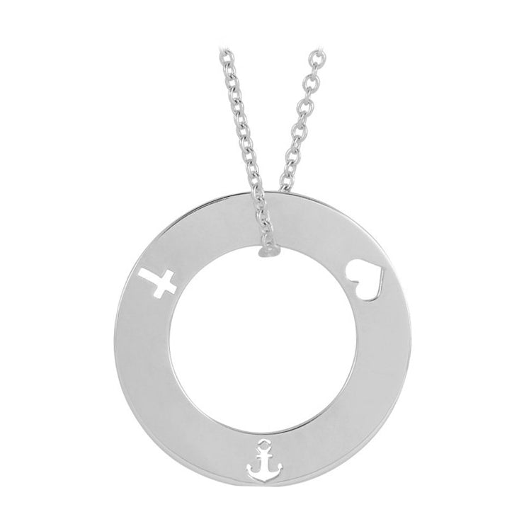 white gold faith hope love necklace