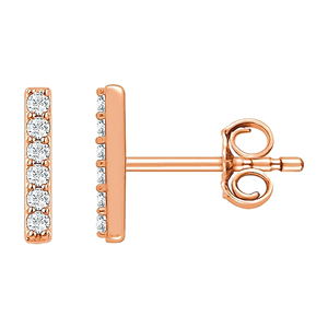 Rose Gold Diamond Bar Earring