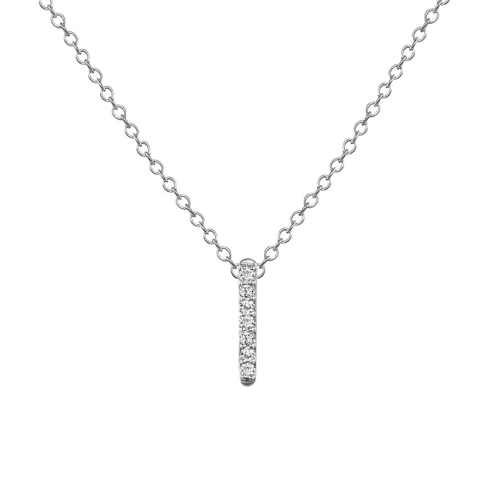 white gold diamond bar necklace