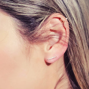 White Gold Diamond Bar Earrings on ear