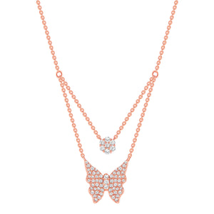 Rose Gold Double Chain Butterfly Diamond Necklace