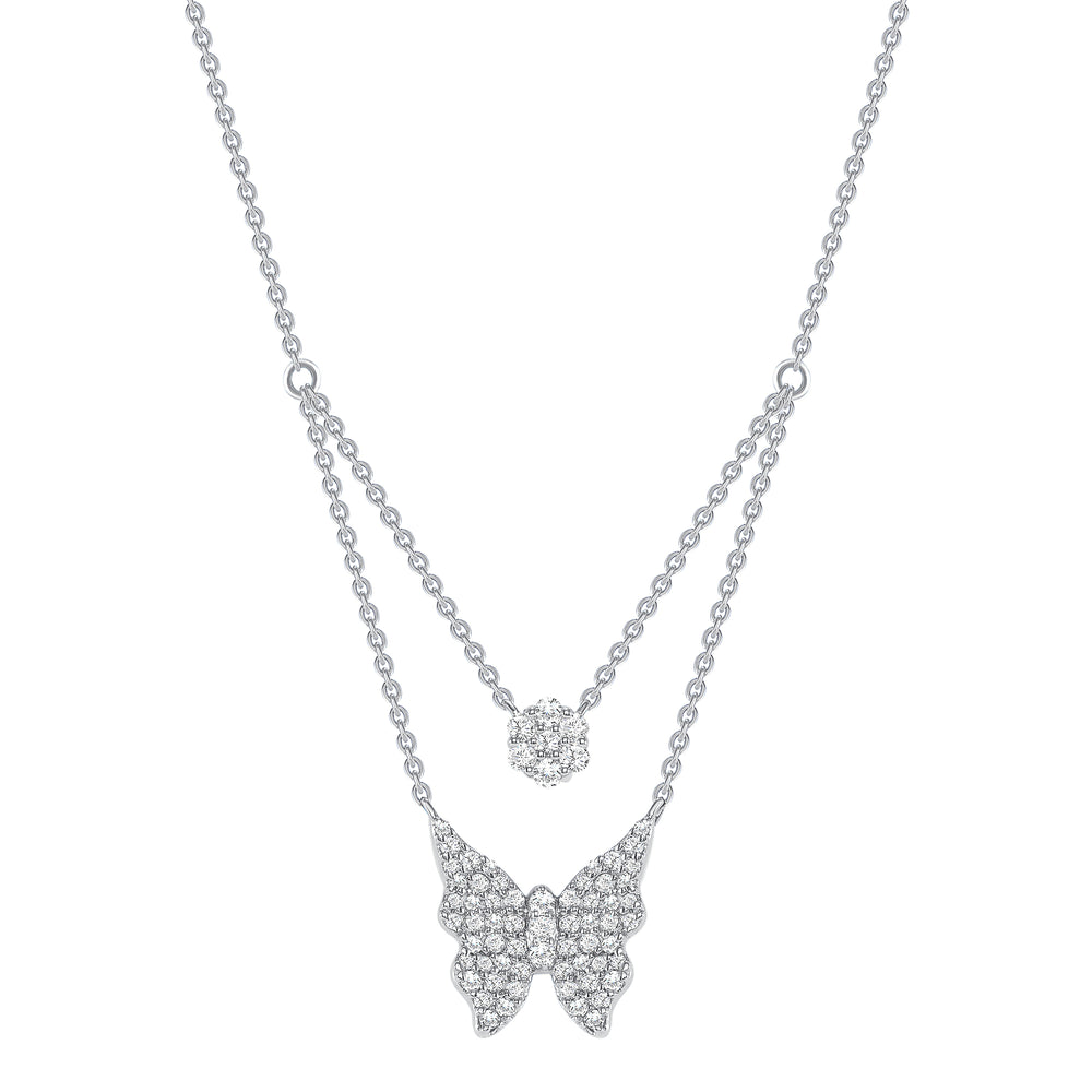 White Gold Double Chain Butterfly Diamond Necklace