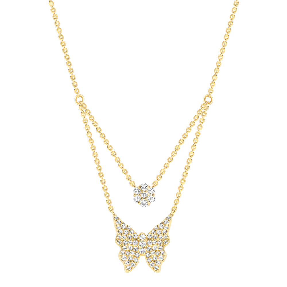 Yellow Gold Double Chain Butterfly Diamond Necklace