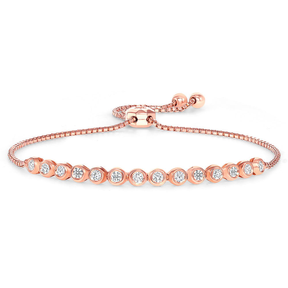 Rose Gold Half Diamond Bezel bracelet