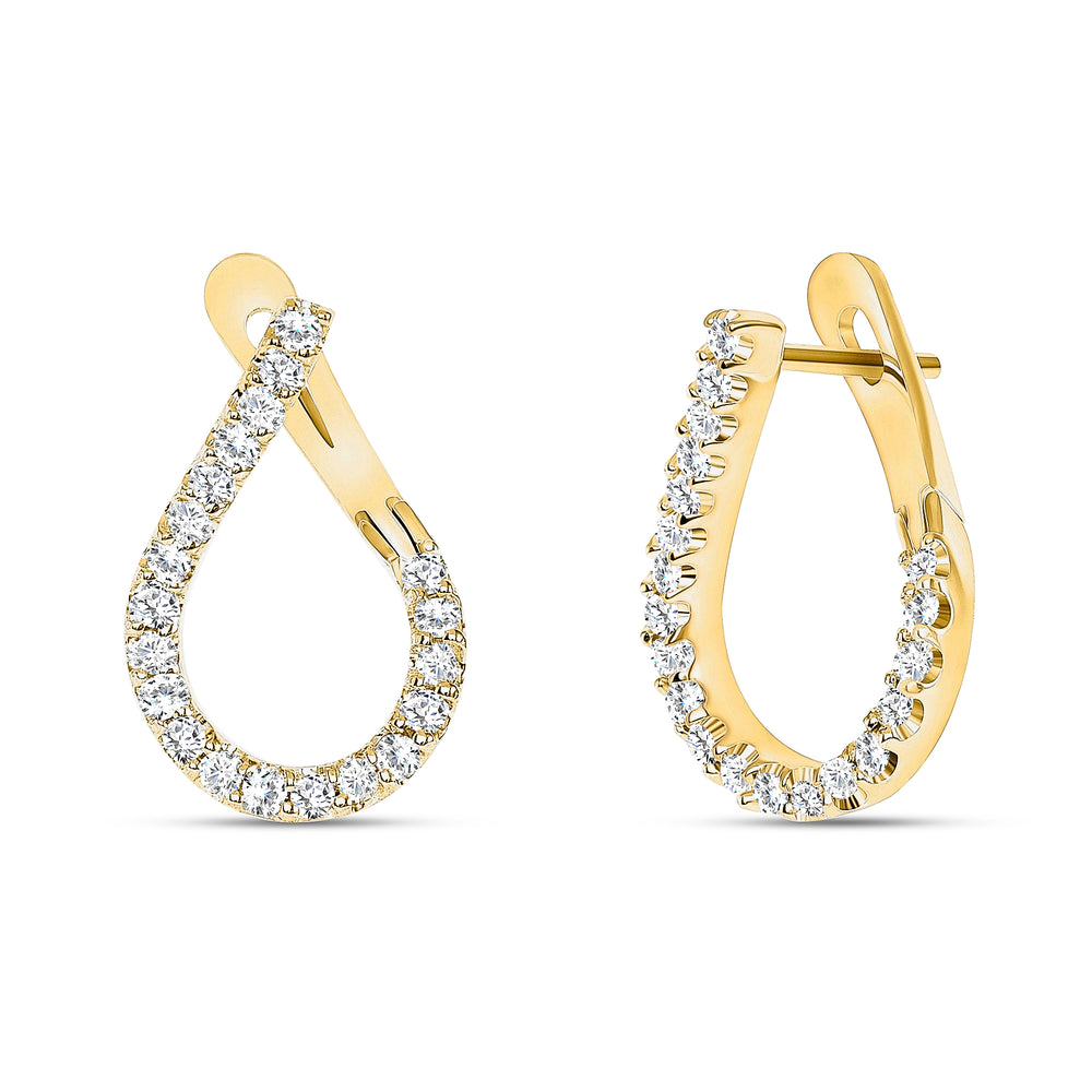 Unique Diamond Earrings Hoop Modern Style in Yellow Gold