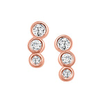 bezel diamond drip earrings rose gold