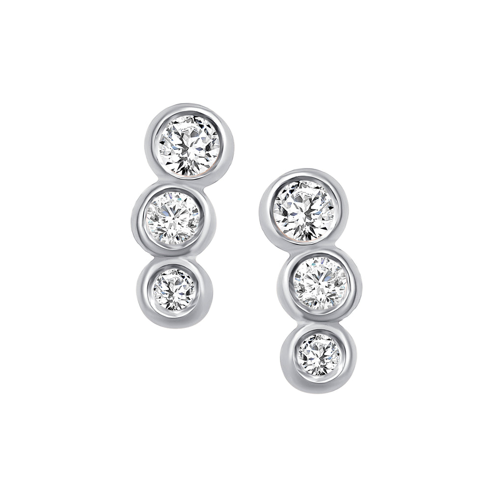 White Gold Diamond Bezel Earrings