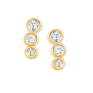 Yellow Gold Diamond Bezel Earrings