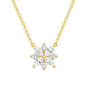Yellow Gold Galaxy Diamond Pendant Necklace