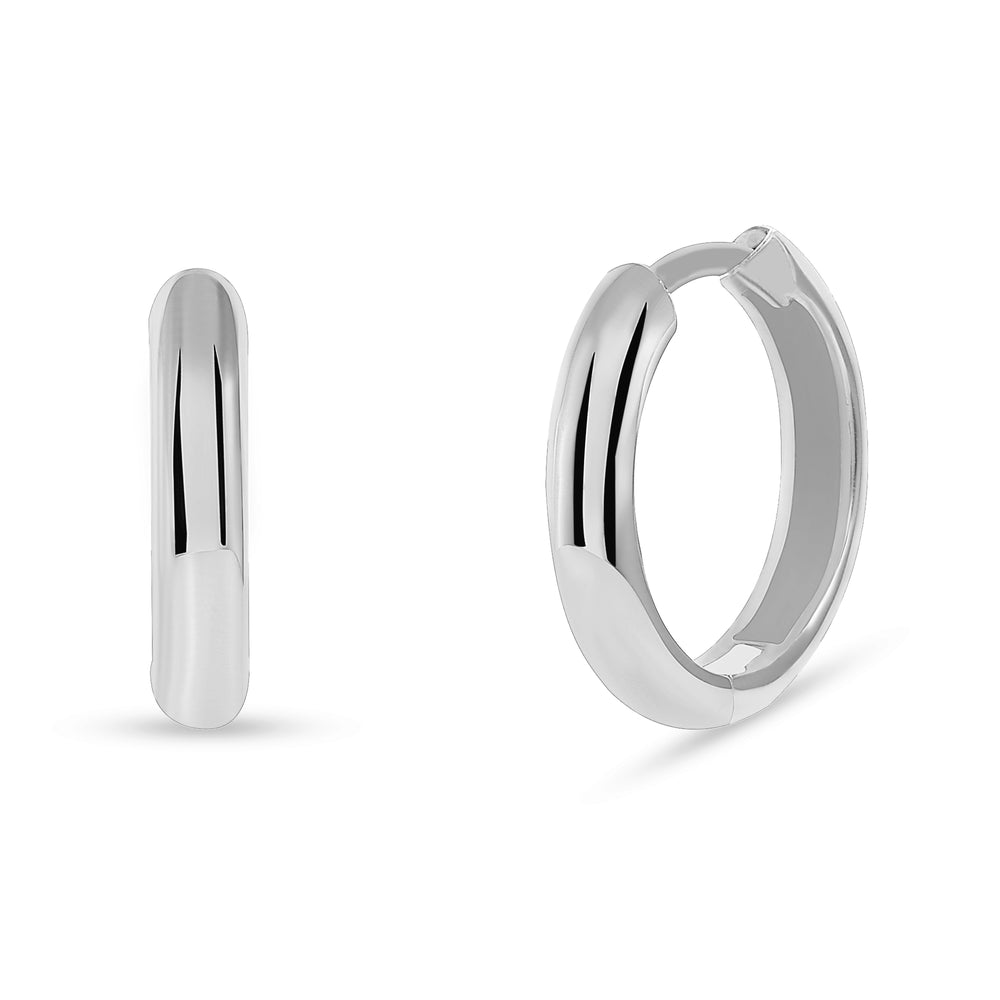 huggie hoop earrings white gold