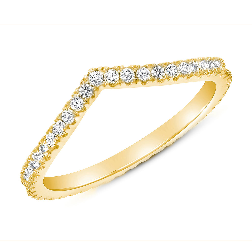 Curved Diamond Ring Band In Yellow Gold