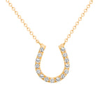 Horse Shoe Diamond Pendant In Yellow Gold Necklace