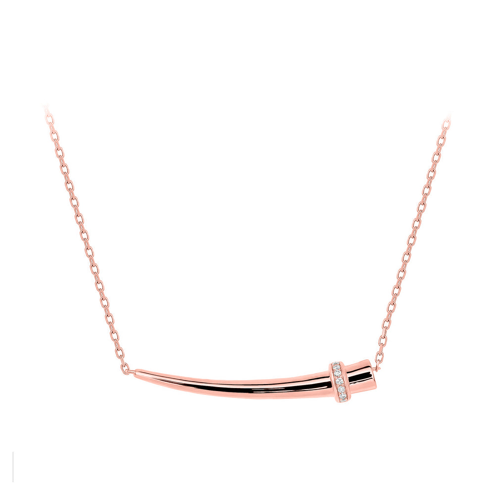14k rose gold horn pendant necklace